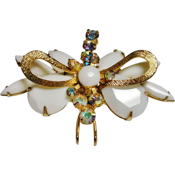 D&E Juliana Chalk White Rhinestone Moth Brooch