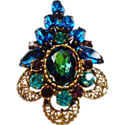 Verified D&E Juliana Heliotrope Rhinestone Brooch