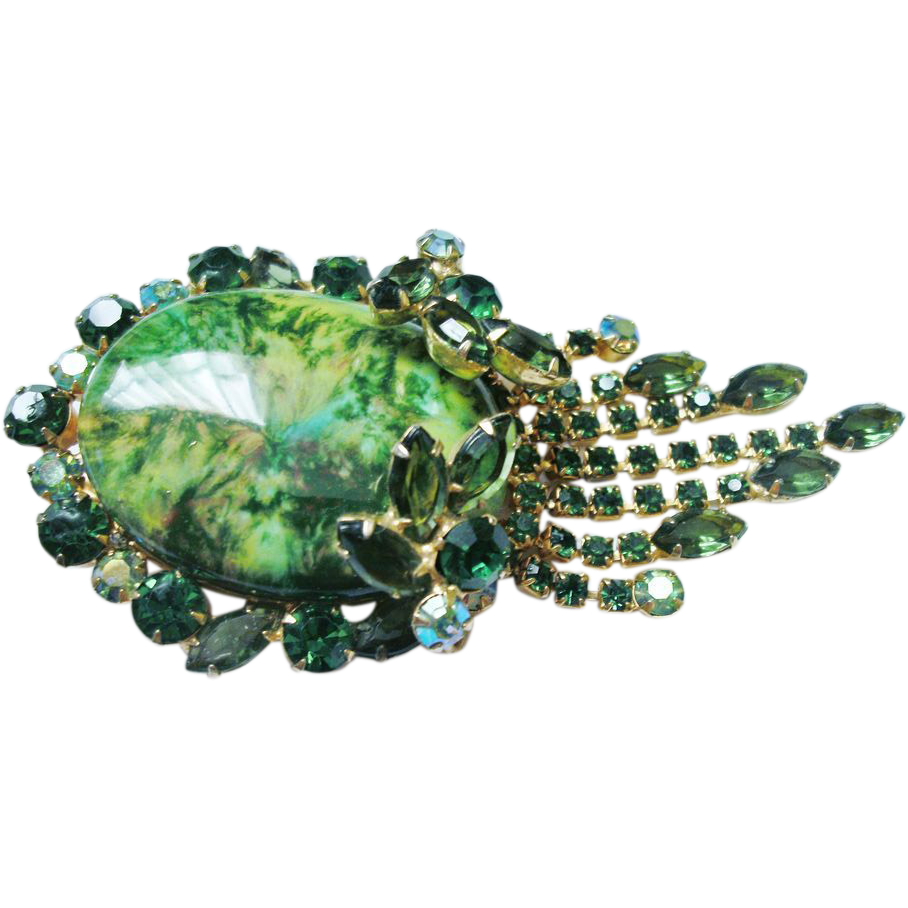 Verified D&E Juliana Green Rhinestone Drippy Brooch