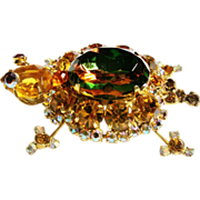 Verified D&E Juliana Amber Rhinestone Turtle Brooch
