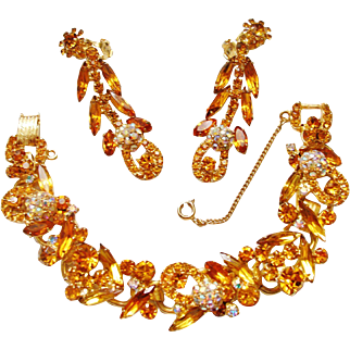 Verified D&E Juliana golden Rhinestone and Aurora Borealis Bracelet & Earrings