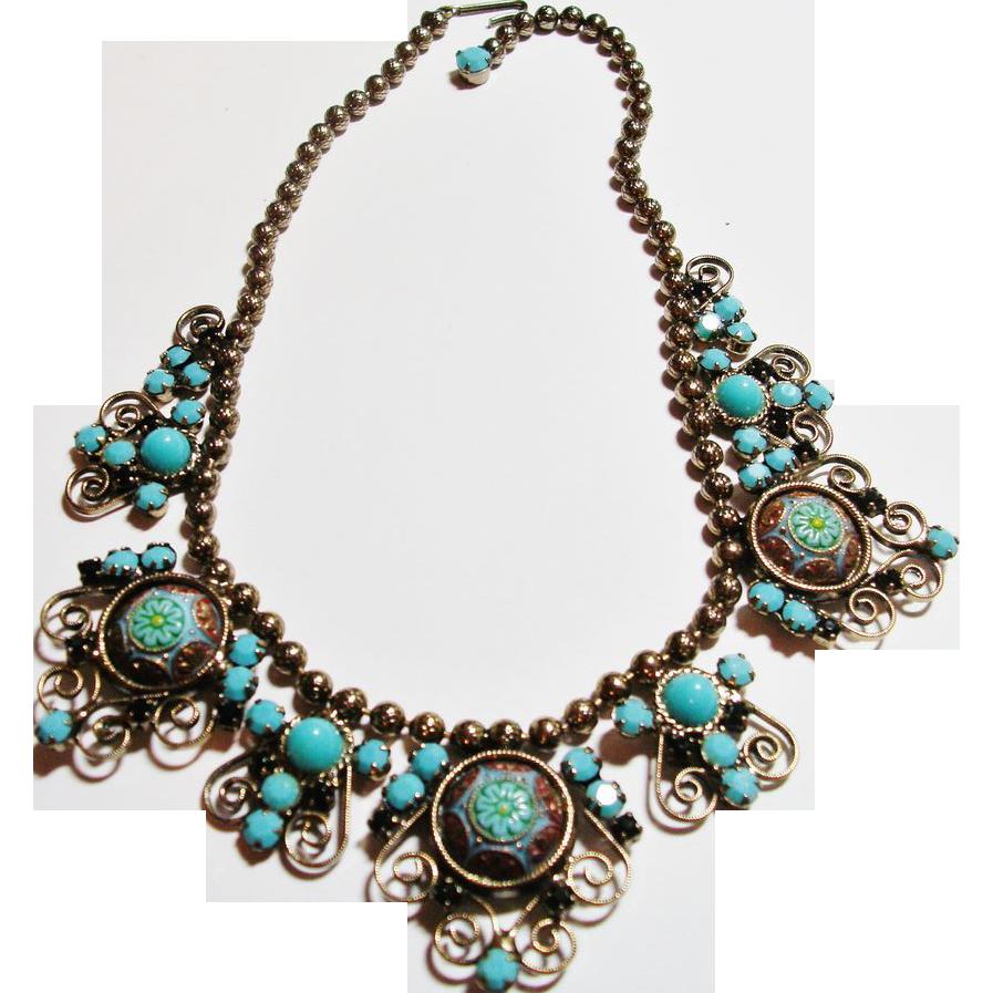 D&E Juliana Moroccan Matrix Turquoise Color Necklace