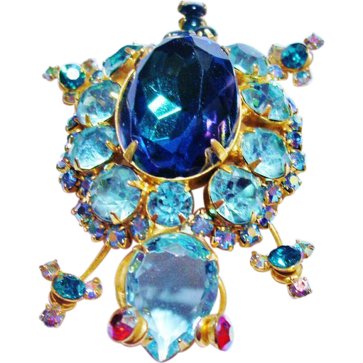 Verified D&E Juliana Aqua & Blue Rhinestone Turtle Brooch