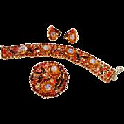 Verified D&E Juliana Rose & Topaz Rhinestone Brooch, Bracelet & Earrings