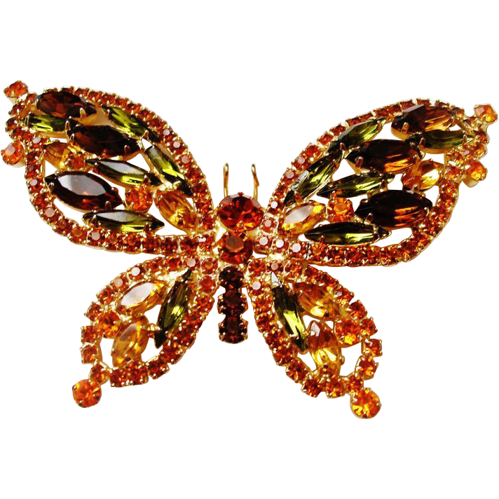 D&E Juliana Fall Color Rhinestone Butterfly Brooch