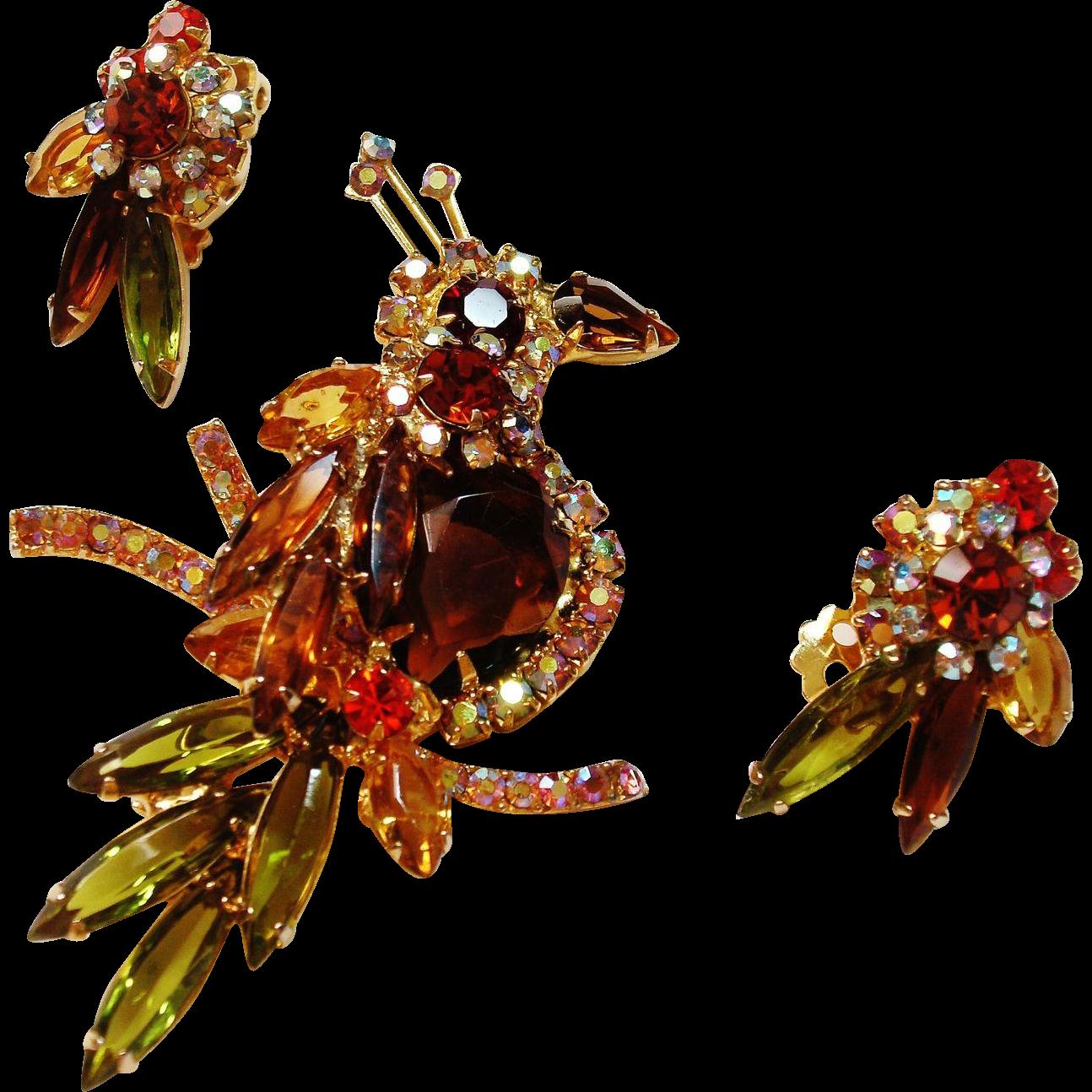 Verified D&E Juliana Rhinestone  Bird Figural with Matching Earrings