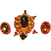 Verified D&E Juliana Brown & Orange Turtle Brooch & Earrings