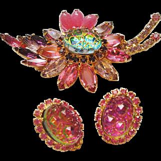 D&E Juliana Watermelon Crushed Ice Stone & Pink Rhinestone Brooch & Earrings