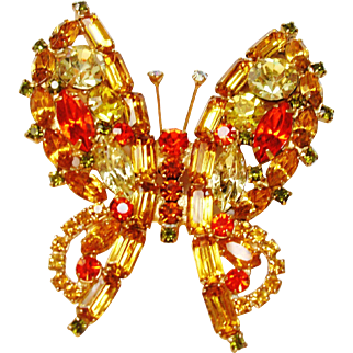 Verified D&E Juliana Citrine & Orange Rhinestone Butterfly Brooch