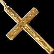 Vintage 1/20 12k Gold Filled Cross Engraved Design Pendant