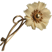 Vintage Winard 12k G.F. Carved Flower Pin