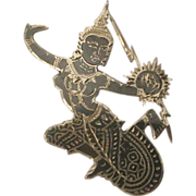 Vintage Niello Siam Sterling Silver Goddess /Dancer Pin