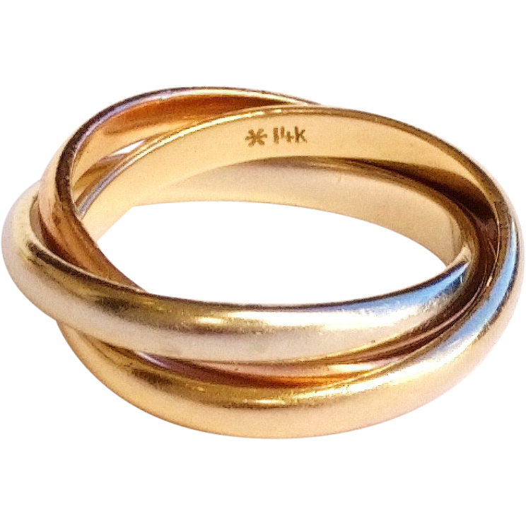amazing 14k gold rolling ring tri colored size 5 1 2