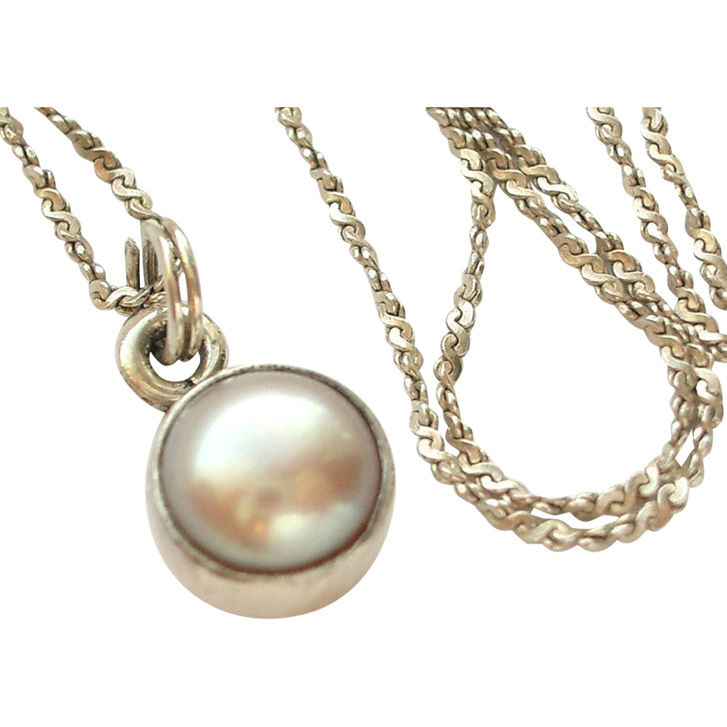 sterling silver chain and cultured pearl pendant sold on