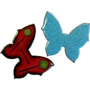Set Of Enamel over Copper Butterfly Pins / Brooch
