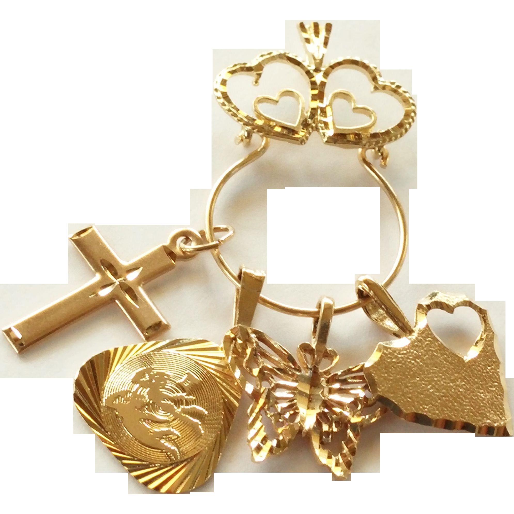 vintage 10k gold necklace charm holder pendant from