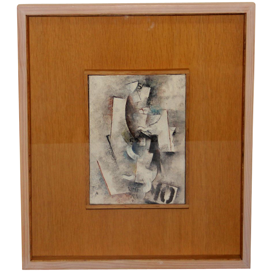 Oil on Canvas by  French  Modernist Artist Robert Marc (1943-1993)