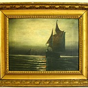 "19th Century Oil on Canvas ""Moonlit Sail"" by Listed Artist Andrew Millrose"