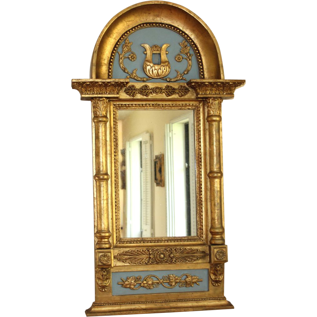 Antique Swedish Empire Paint Decorated Mirror from ...