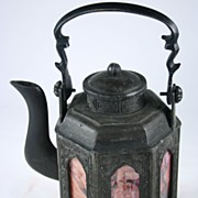 Chinese Tin Signed Tea pot, Republic Era  九棱春宫图锡茶罐
