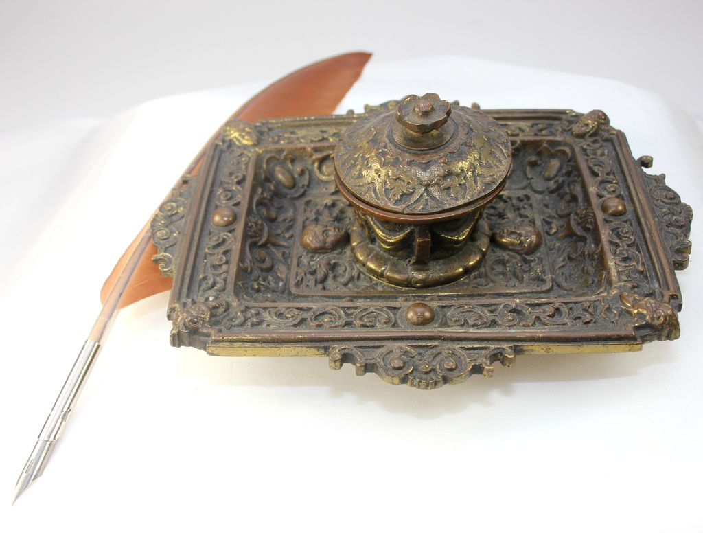 Sculpted Bronze Vintage Inkwell With Quill From