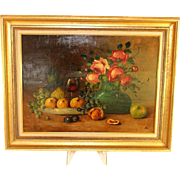 Cheerful oil on board painting still life with roses and fruit