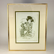 "Pencil signed/numbered D. Eder lithograph, ""Rocking Geisha"""