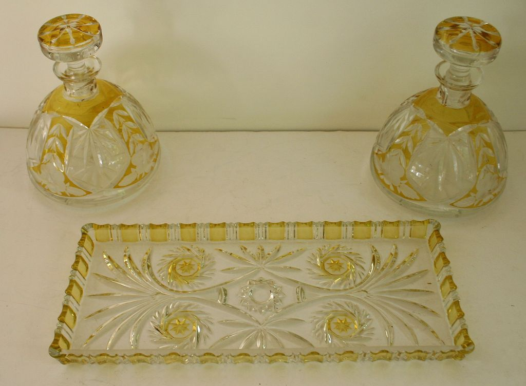 Unusual Vintage Lemon Yellow Flash Glass Decanters and Tray Set