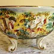 Vintage Capo Di Monte Bowl with Putties and Fauns