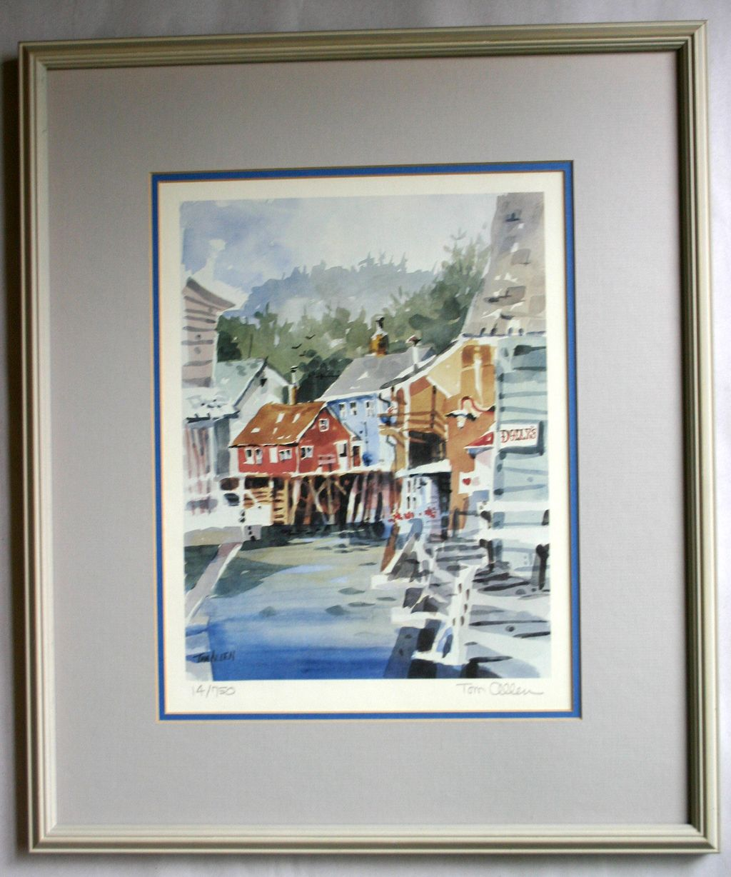 Tom Allen, Signed Numbered Lithograph of a Harbor Side Village