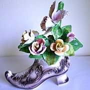 Vintage Capodimonte Display Boot with Flowers Capo Di Monte