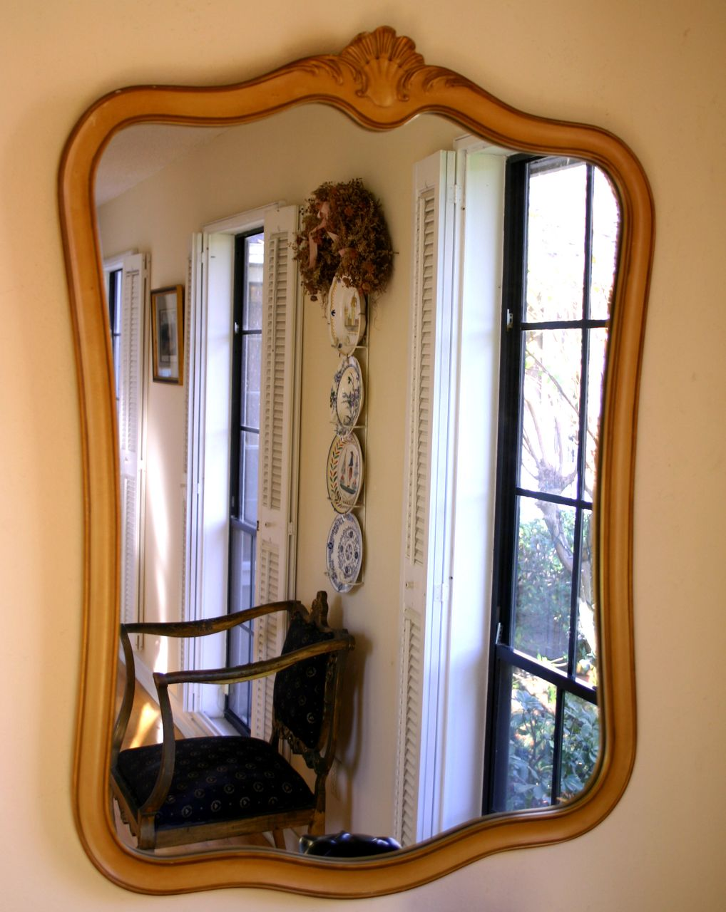 Vintage French Sculpted Wood Mirror