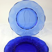 Hazel Atlas Cobalt Blue Newport Set of 4 Dinner Plates 8 13/16""