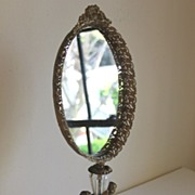 Shabby Chic Table Top Dresser Mirror with Putti at Base