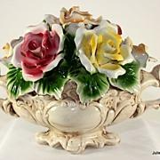Cheerful Capo Di Monte Center Piece, Flower Basket