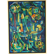 Modernist Oil on Board Painting After  Edouard Pignon (1905-1993)