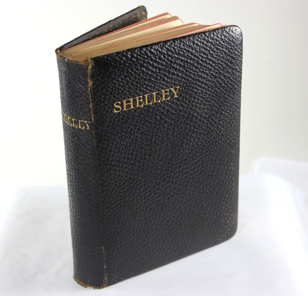 Poetical Works of Shelley, Beautiful  Black Leather Binding, Gold Leaf Page Edges