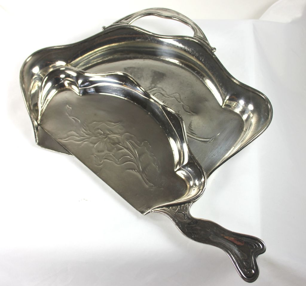 Art Nouveau Silver Plate Crumb Tray and Brush