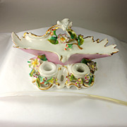 Romantic Pink and White Porcelain Ink Well with Flowers and Quill