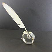 Beautiful Modernist Glass Inkwell with Feather Quill