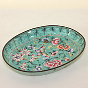Vintage bright turquoise cloisonne pin dish