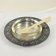 Silver plate Oneida Caviar dish with bone spoon and glass liner