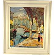 Oil on canvas of Venice by Novilli done in pallet knife, signed and dated