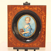 Gorgeous antique miniature portrait of a girl and her kitten, signed