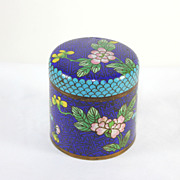 Antique Chinese blue/turquoise cloisonné box with lid