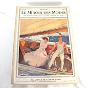Antique French fashion magazine, Le Mirroir des Modes, July 1909