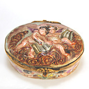 Antique Capodimonte hinged trinket box, Capo Di Monte