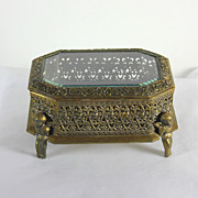 Vintage open worked gilded metal trinket box