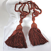 Set of beaded vintage tie backs with large tassels, cinnamon