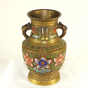 Antique Japanese champlevé jar with griffin handles